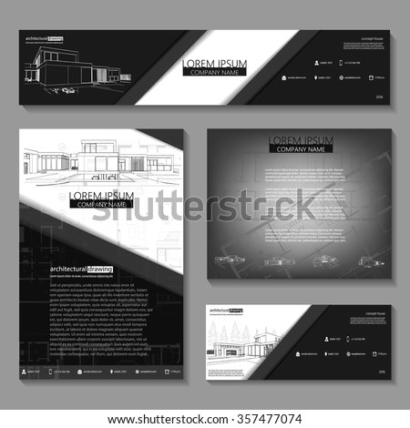 Business cards design with cityscape sketch for architectural company. Architectural background for architectural project, architectural brochure, technical project, architectural drawing. - stock vector