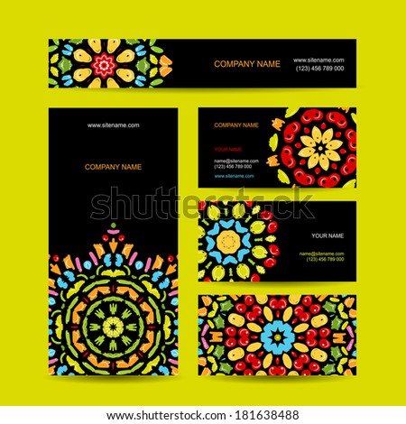 Business cards design with colorful ornament - stock vector