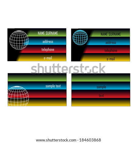 business cards design with earth globe - stock vector