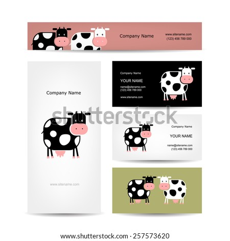 Business cards design with funny cow. Vector illustration - stock vector