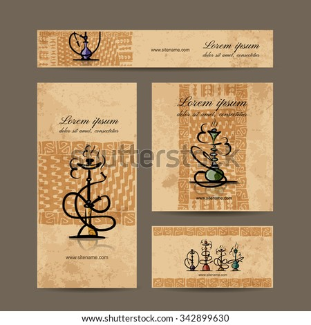 Business cards design with hookah sketch. Vector illustration