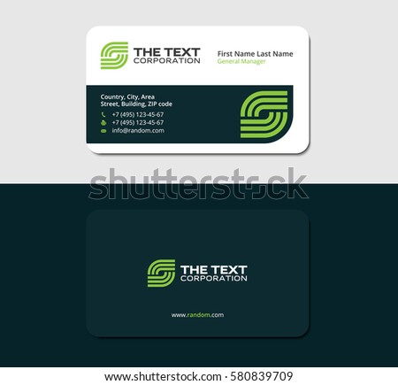 Business cards internet green color two stock vector 580839709 business cards internet green color two sided card reheart Gallery