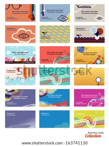 Business cards layout collection. Editable design template. EPS10 vector, transparencies used. - stock vector