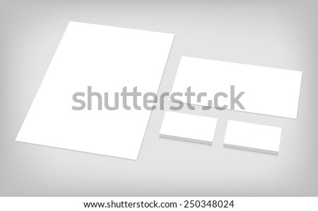 Business cards, letterhead, envelope. Stationary branding template for CI presentation. Set of corporate identity template. - stock vector