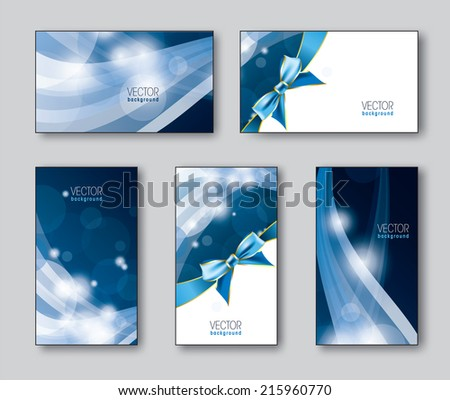 Business Cards or Gift Cards. Set of Five. - stock vector