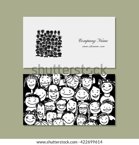 Business cards, people crowd for your design. Vector illustration - stock vector