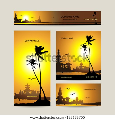 Business cards set with tropical sunset for your design - stock vector