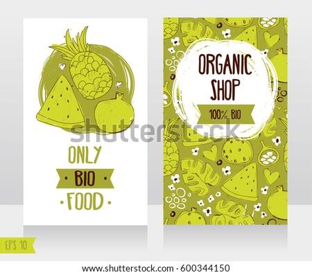 Business cards template organic foods shop stock vector 600344150 business cards template for organic foods shop or vegan cafe vector illustration wajeb Gallery