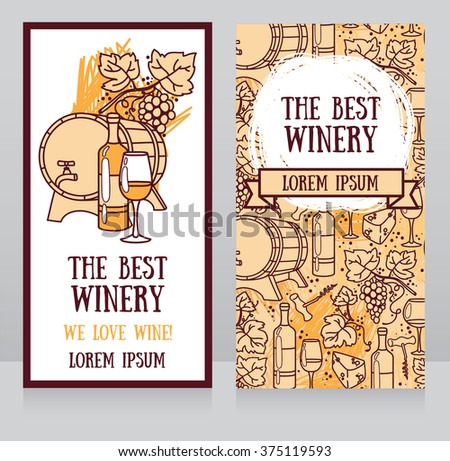 Business  cards template for the best winery or wine shop, can be used as invitation for wine party, vector illustration