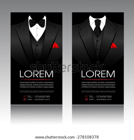 Business Cards Template with Suit and tuxedo for businessmen Vector EPS10 format illustration - stock vector
