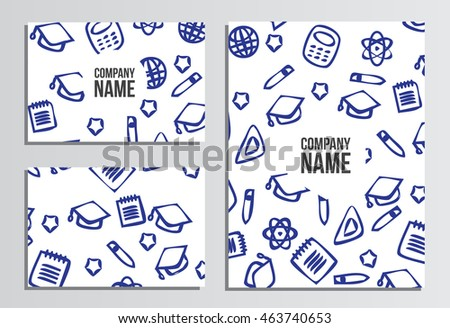 Business cards with Blank Cover. Back to school background. Branding template with back to school pattern