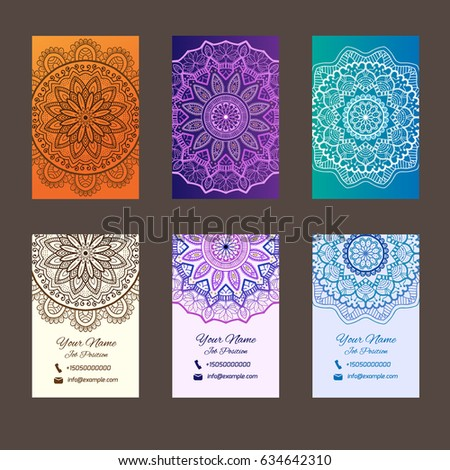 Business cards mandala very nice shapes stock vector royalty free business cards with mandala very nice shapes and colors back and top colourmoves
