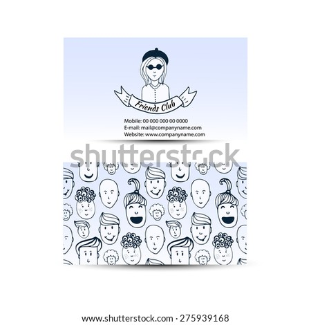 Business cards with people crowd design. Friends club business card. Vector hand drawn illustration - stock vector