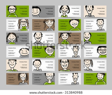 Business cards with people icons, sketch for your design. Vector illustration - stock vector