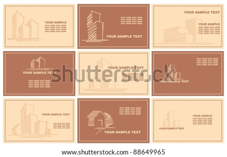 Business cards with sketches of buildings - stock vector