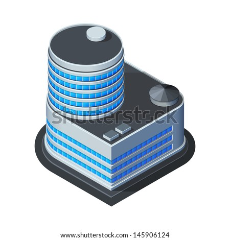 Business Center Building, Office, For Real Estate Brochures Or Web Icon. Isometric Vector EPS10  - stock vector