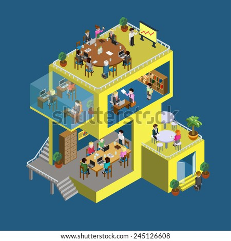Business center building with people flat 3d web isometric infographic concept vector. Exterior and interior isometry rooms with people staff workers. Creative people collection. - stock vector