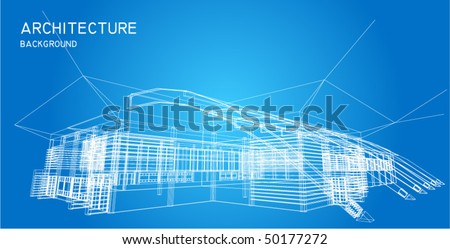 Business center in wire frame view