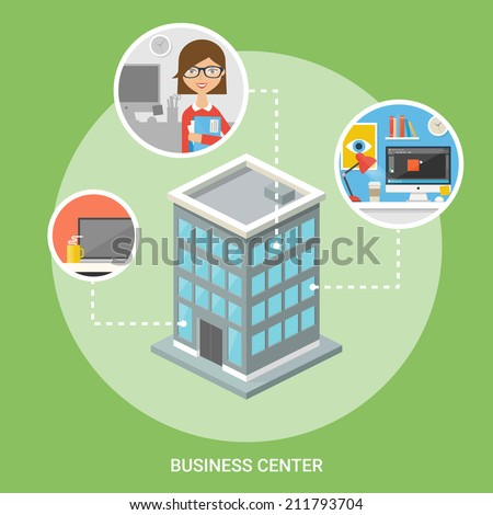 Business center isometric building, flat icons, stylish background  - stock vector