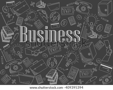 Business chalk line art design vector illustration. Separate objects. Hand drawn doodle design elements.