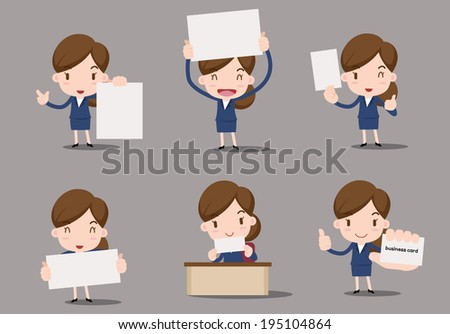 business character - blank paper - stock vector