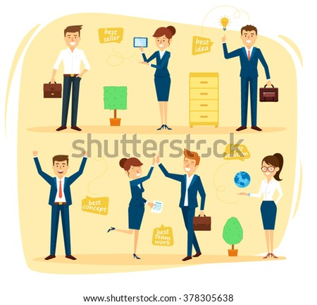 Business Character Design Set in Different Situations. Vector Illustration - stock vector