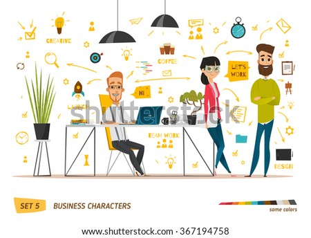 Business characters scene - stock vector