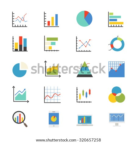 Business Chart and Graph Flat Icons color - stock vector