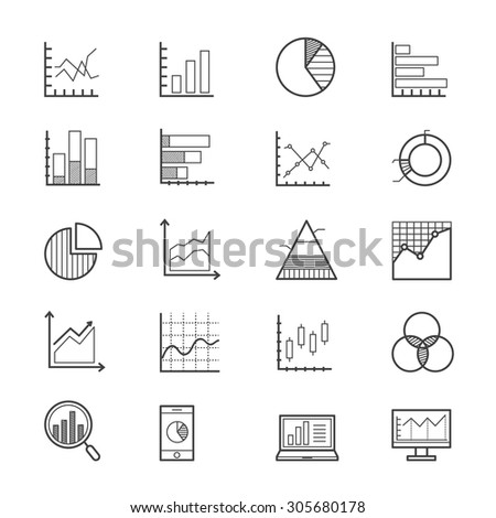 Business Chart and Graph Icons Line - stock vector