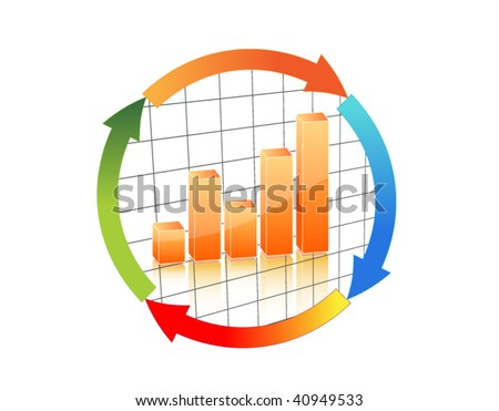 Business chart in arrow cycle - stock vector