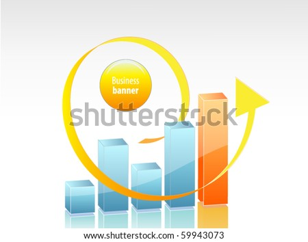 Business chart with arrow - stock vector