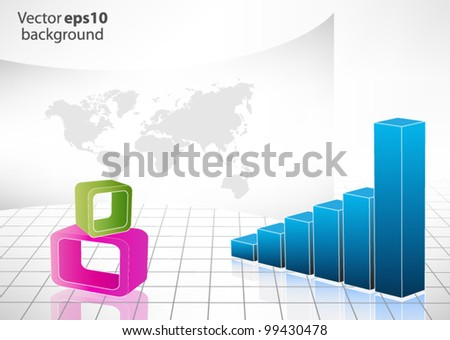 Business chart with isolated 3d object - stock vector