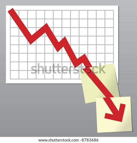 Business chart with line exceeding bottom borders and going on over notes