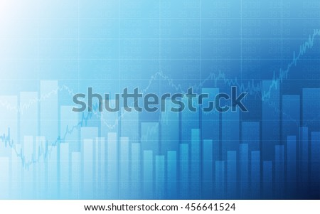 Business chart with uptrend line graph, bar chart and stock numbers in bull market on white and blue color background (vector) - stock vector