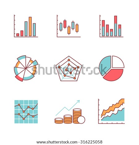 Business charts and data icons thin line set. Flat style color vector symbols isolated on white. - stock vector