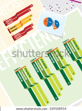 Business Charts: Efficiency - stock vector