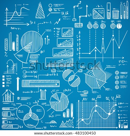 Business charts, graphs, stats doodles set on blue background. Hand drawn vector illustration