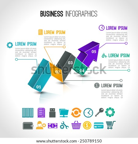 Business charts infographic set with 3d arrow and financial signs vector illustration