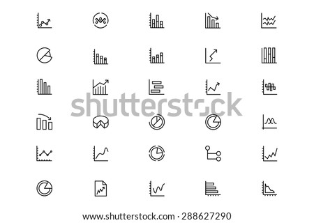 Business Charts Vector Line Icons 3 - stock vector