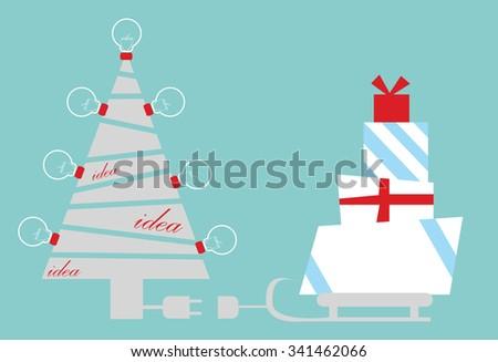 Business christmas card christmas tree idea stock vector royalty business christmas card christmas tree and idea bulb you can write your text here colourmoves