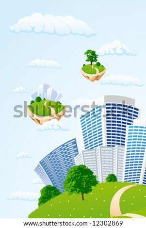 Business city in the sky - stock vector
