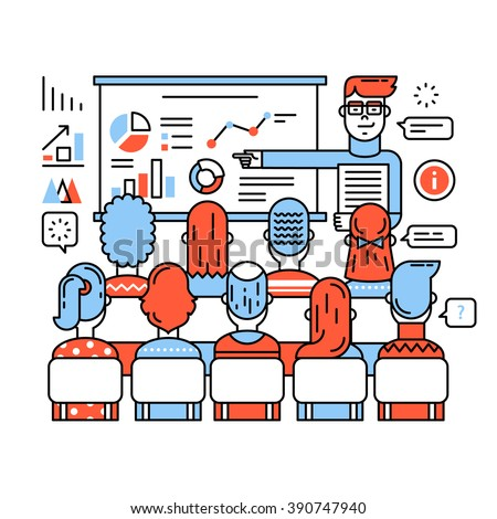 Business class, corporate training or seminar. Young teacher in glasses explaining new social media marketing strategy. Thin line art flat illustration with icons. - stock vector