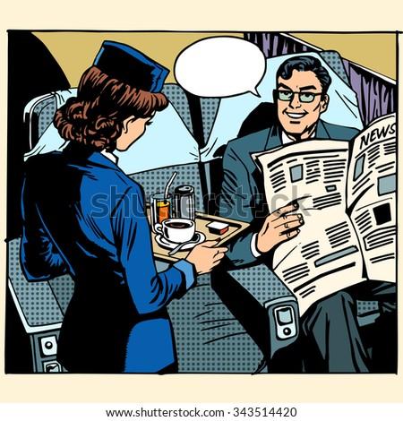 business class plane breakfast stewardess businessman pop art retro style - stock vector
