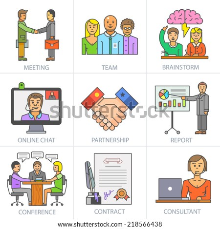 Business co-operation and partnership. Vector flat icon set: meeting, team, brainstorm, report, on-line chart, conference, contract, consultant. - stock vector