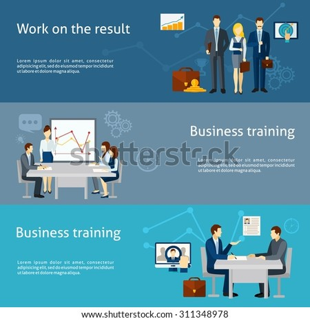 Business coaching and personnel training as  effective management strategy  flat banners set poster abstract isolated vector illustration - stock vector