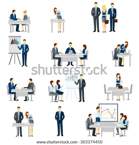 Business coaching icons set with discussion diagrams and team flat isolated vector illustration  - stock vector