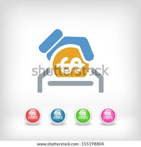 Business coin icon - stock vector
