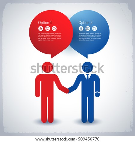 Business colleagues holding hands and working together concept in blue and red colors flat vector illustration