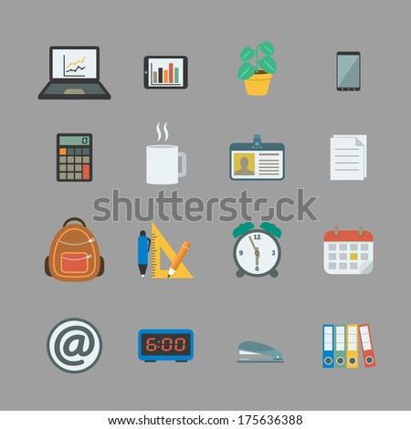 Business collection of flat stationery office supplies color icons isolated vector illustration - stock vector