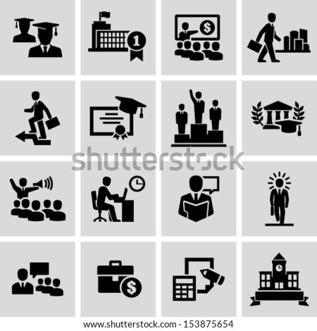 Business college education icons vector  - stock vector